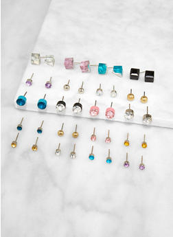 Set of 20 Assorted Colored Stud Earrings - 3122074141674