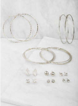 Set of 9 Assorted Hoop and Stud Earrings Set - 3122074146126
