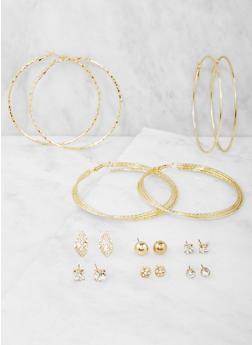 Set of 9 Assorted Hoop and Stud Earrings Set - 3122074146126