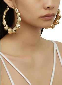 Metallic Bamboo Hoop Earrings - 3122074170279