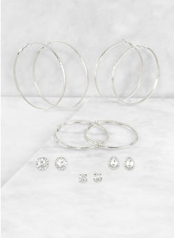 Metallic Hoop and Stud Earring Trios - 3122074170356