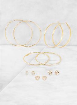 Rhinestone Stud and Hoop Earrings Set | 3122074171018 - 3122074171018