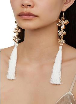 Metallic Flower Tassel Earrings - 3122074171148