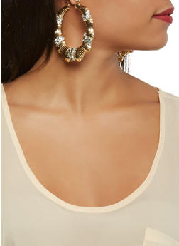 Rhinestone Studded Bamboo Hoop Earrings - 3122074171197