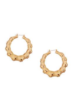 Metallic Bamboo Hoop Earrings - 3122074171702