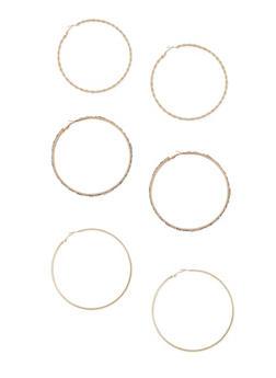 Trio Of Extra Large Rhinestone Hoop Earrings - 3122074171954