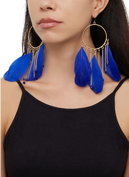 Beaded Feather Circle Drop Earrings - 3122074173100