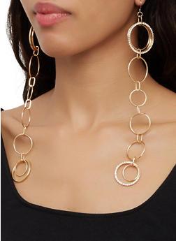 Hoop Chain Drop Earrings - 3122074173114