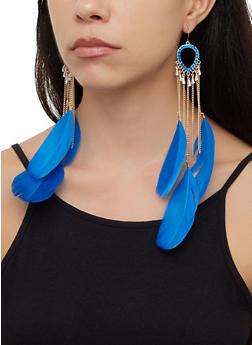 Multi Feather Chain Drop Earrings - 3122074173131