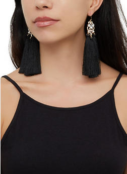 Triple Tassel Drop Earrings - 3122074173135