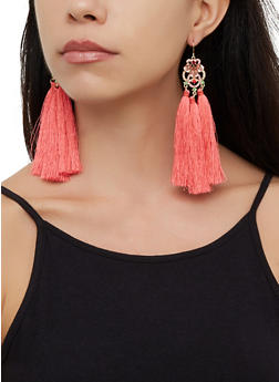 Triple Tassel Drop Earrings - 3122074173135