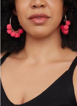 Pom Pom Metallic Hoop Earrings - 3122074173912