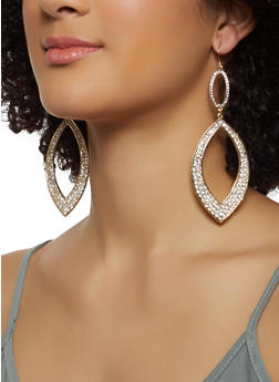 Rhinestone Tear Drop Earrings - 3122074173915