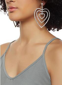 Triple Rhinestone Heart Drop Earrings - 3122074173924