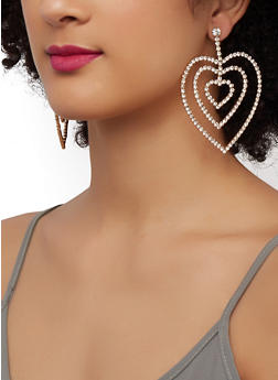 Triple Rhinestone Heart Drop Earrings - 3122074173924