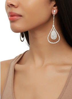 Rhinestone Double Tear Drop Earrings - 3122074173929