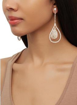 Rhinestone Double Tear Drop Earrings - 3122074173929