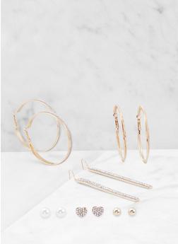 Assorted Glitter and Rhinestone Earrings Set - 3122074173936