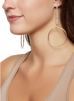 Rhinestone Stick Hoop Earring Set - 3122074179121