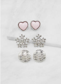 Assorted Stud Earring Trio - 3122074179497