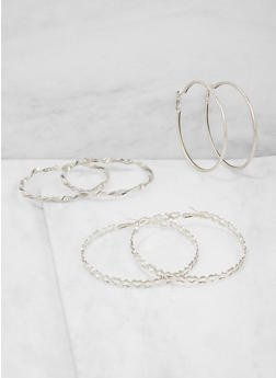 Glitter Heart Hoop Earrings Trio - 3122074179499