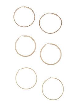 Trio Of Large Rhinestone Hoop Earrings - 3122074179511