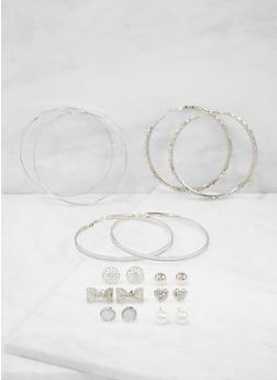 Assorted Set of 9 Stud and Hoop Earrings - 3122074179697