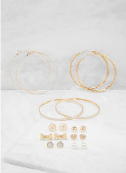 Assorted Set of 9 Stud and Hoop Earrings - 3122074179697