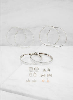 Glitter Stud and Hoop Earrings Set - 3122074179698