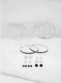 Set of 9 Glitter Rhinestone Hoop and Stud Earrings - 3122074179699