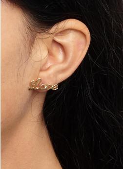 Metallic Studs and Tassel Hoop Earrings - 3122074374126