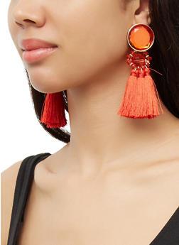 Beaded Triple Tassle Drop Earrings - 3122074374240