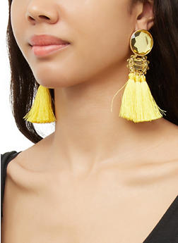 Beaded Triple Tassle Drop Earrings - 3122074374240