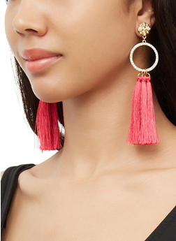 Rhinestone Circle Triple Tassel Earrings - 3122074374255