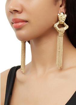 Metallic Chain Tassel Earrings - 3122074374507