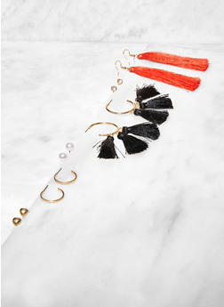 Tassel Hoop and Stud Earrings Set - 3122074374516