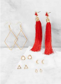 Set of 6 Drop and Stud Earrings - 3122074374517