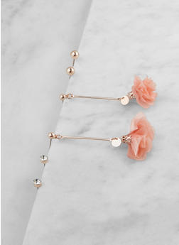Fabric Flower Stud Earrings Set - 3122074374752