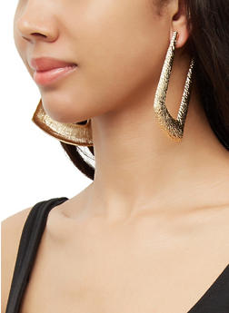 Large Hammered Metallic Door Knocker Earrings - 3122074374998