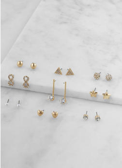 Set of 9 Assorted Stud Earrings - 3122074375262