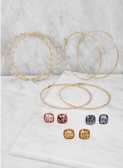 Assorted Stud and Large Hoop Earrings Set - 3122074461720