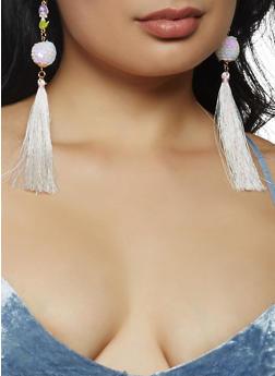 Mermaid Sequin Tassel Earrings - 3122074465401