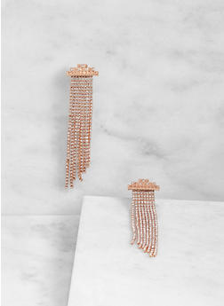 Rhinestone Fringe Earrings - 3122074591029