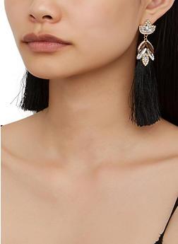 Rhinestone Double Tassel Drop Earrings - 3122074974026