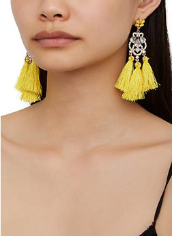 Rhinestone Three Tassel Earrings - 3122074974027