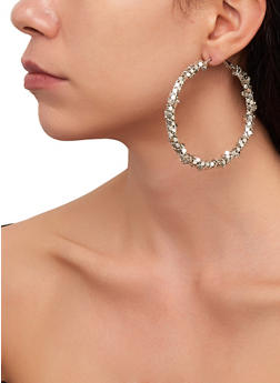 Trio of Stud and Metallic Hoop Earrings - 3122074974029