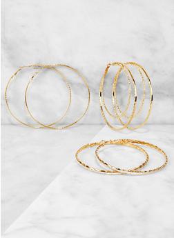 Textured Glitter Metallic Hoop Earring Trio - 3122074974032