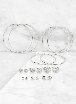 Set of 9 Assorted Size Hoop and Stud Earrings - 3122074974034