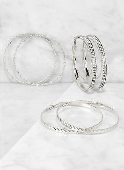 Rhinestone Twisted Hoop Earring Trio - 3122074974035