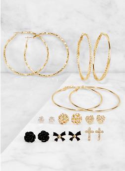 Rhinestone Stud and Twisted Hoop Earrings Set - 3122074974036